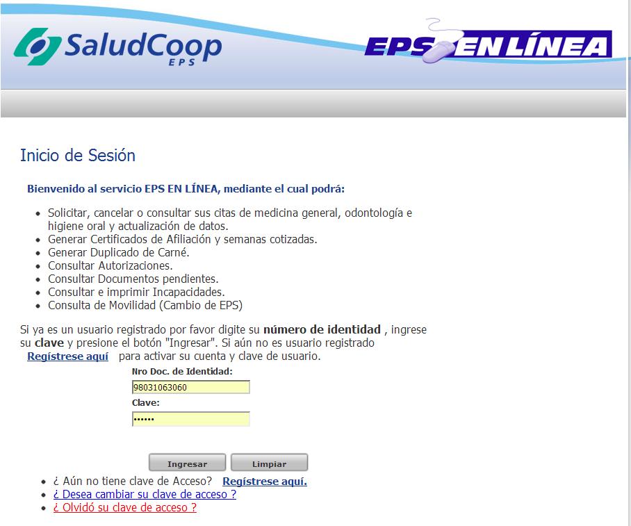 Citas saludcoop por internet Bogota darlo